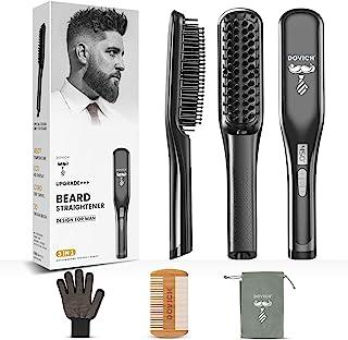 Upgraded Beard Straightener for Men, 3 in 1 Dovich Unique Design Beard Straightening Anti-Scald Straightening Comb Adjusta...