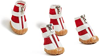 Medium Dog Boots Mesh Shoes for Dachshund Poodle French Bulldog Pug Mini Schnauzer (Small Medium Size, Red)