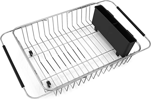 IPEGTOP Expandable Dish Drying Rack Over The Sink Dish Rack In Sink Or On Counter Dish Drainer With Black Utensil Holder Cutlery Tray Rustproof Stainless Steel For Kitchen