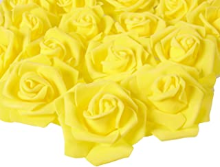 Juvale Rose Flower Heads - 100-Pack Artificial Roses, Perfect Wedding Decorations, Baby Showers, Crafts - Yellow, 3 x 1.25 x 3 inches