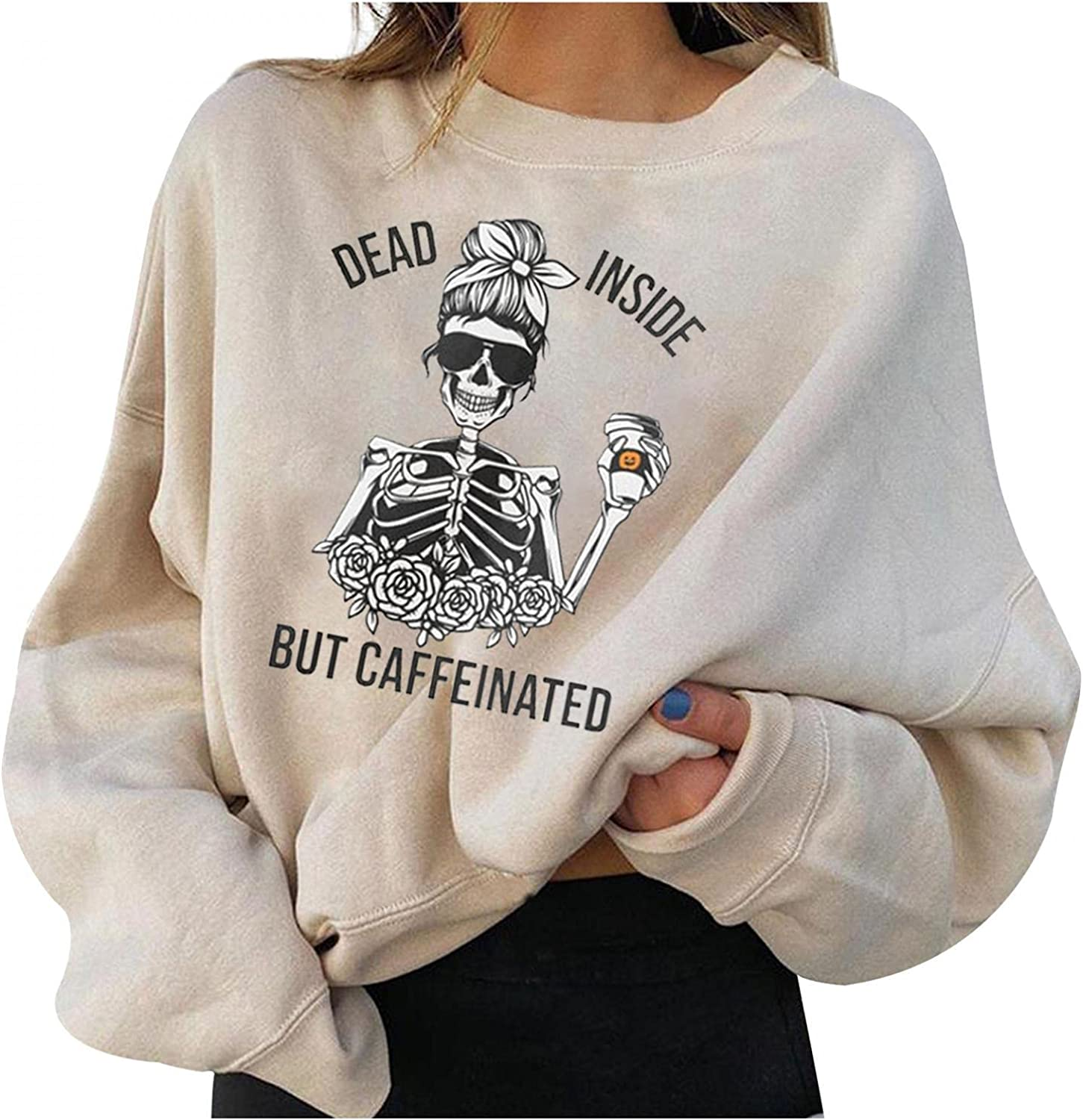 Oiumov Halloween Sweatshirts for Women Long Sleeve Crewneck Funny Skeleton Pullover Tops Casual Graphic Shirts Blouse