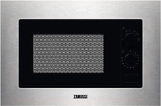 Zanussi ZMSN5SX Microondas Integrable de 700W, 6 niveles de potencia, Mando giratorio, Programa de descongelacion rápida, Pulsador para apertura, Marco Integrado, Negro/Inox, 17L