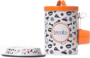 The PetSteel | Orange and White Decorative Canister with Bowl and Scoop (Small) | Pet Food and Treat Storage Container Set | Tight Fitting Lids | Fit's Up to 2 lbs of Treats