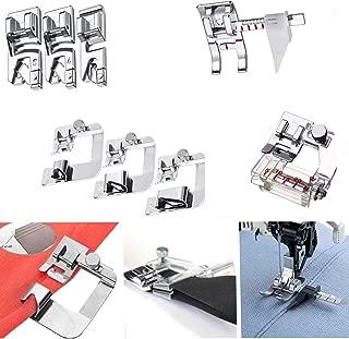 Windman Sewing Hemming Set Includes 3Pcs Wide Hem Foot,3Pcs Narrow Rolled Hem Presser Feet,Bias Tape Binder Foot and Adjustable Guide Presser Foot for Brother Singer Janome Low Shank Sewing Machine