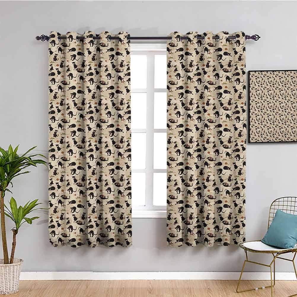 Cat Window Curtain Curtains 63 inch Length Feline Drawn Hand Fees free Rapid rise Pa