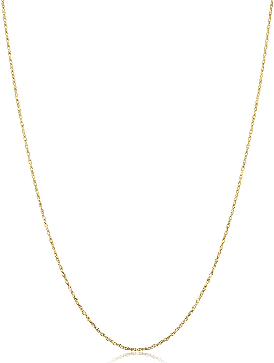 14k Yellow Gold Rope Chain Pendant Necklace for Women (0.7 mm, 0.9 mm, 1 mm, 1.3 mm, or 1.5 mm)