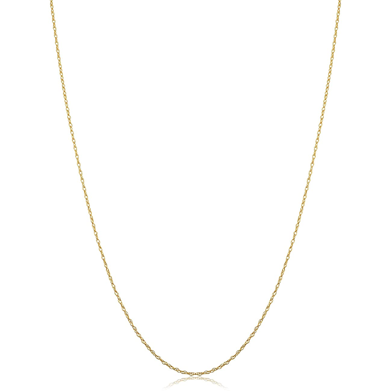 Solid 14k Yellow Gold Rope Chain Necklace (0.7 mm, 0.9 mm, 1 mm or 1.3 mm)
