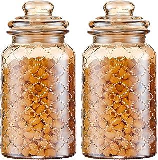 Nourriture Canister Jar De Rangement en Verre Ambre, Bocal De Nourriture Scellé avec Couvercle, Bouche Lisse Et Ronde, Con...