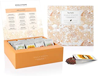 Tea Forte Herbal Teas Single Steeps Tea Chest Variety Gift Box, Loose Tea Sampler with 28 Assorted Teas