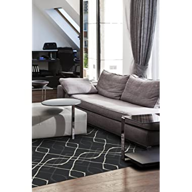 RUGGABLE Washable Indoor/Outdoor Stain Resistant 5x7 (60 x84 ) Area Rug 2pc Set (Cover and Pad) Amara Black