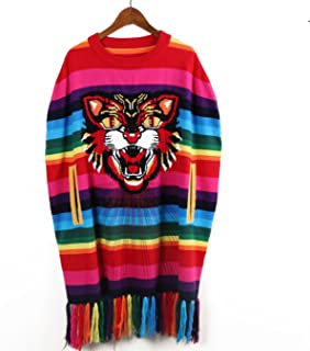Poncho Cashmere Sweater Women Pullovers Oversized Rainbow Tassel Tiger Embroidered Shawl Long Jumper
