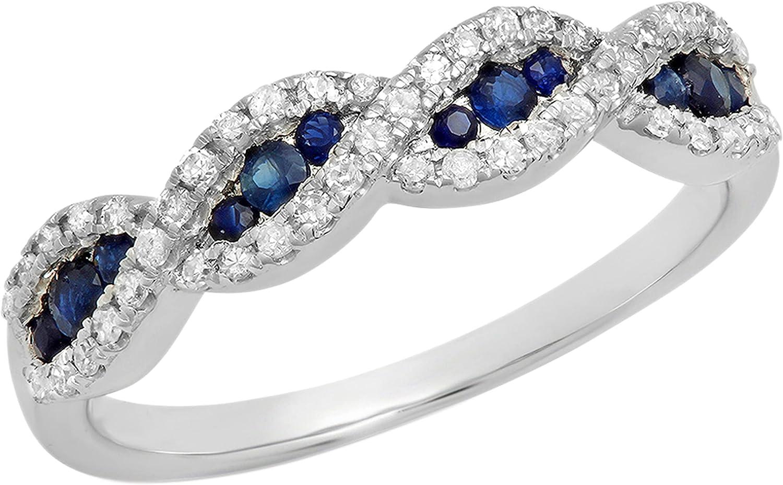 Dazzlingrock Collection Round Blue Sapphire & White Diamond Bridal Swirl Stackable Anniversary Wedding Band   10K Gold