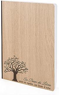 Anteckningsbok med träomslag i A5 – Livets träd – anteckningsbok i äkta trä för att skriva träomslag 192 tomma sidor 90 g,...