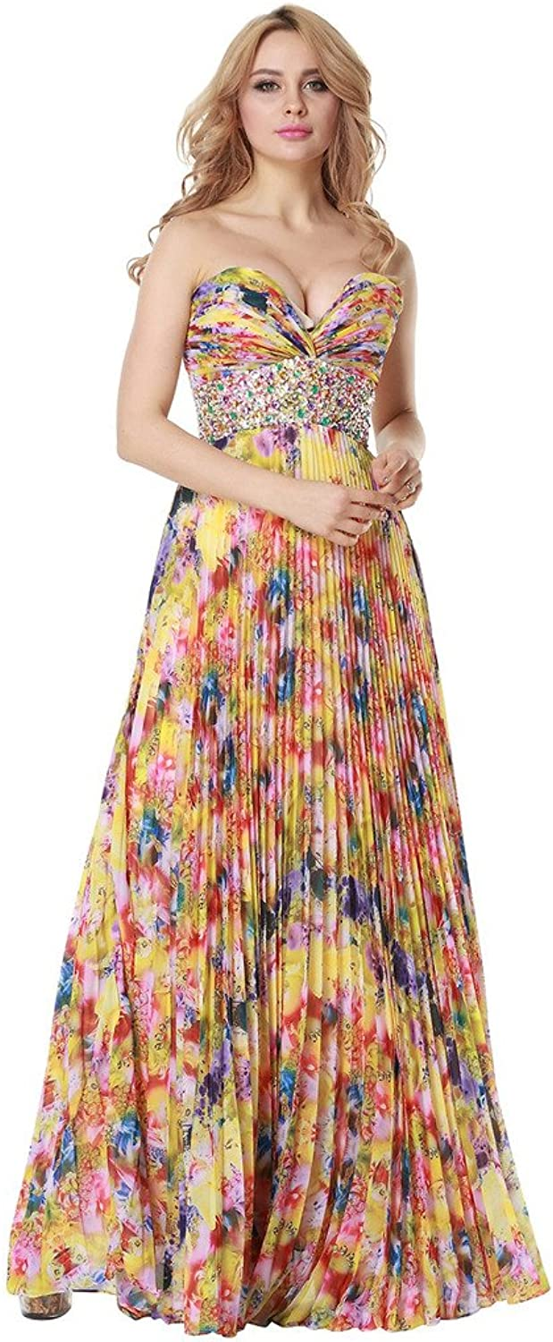 Nemobridal Women's Floral Print Long Beaded Bridesmaid Dress Prom Ball Gown NM007