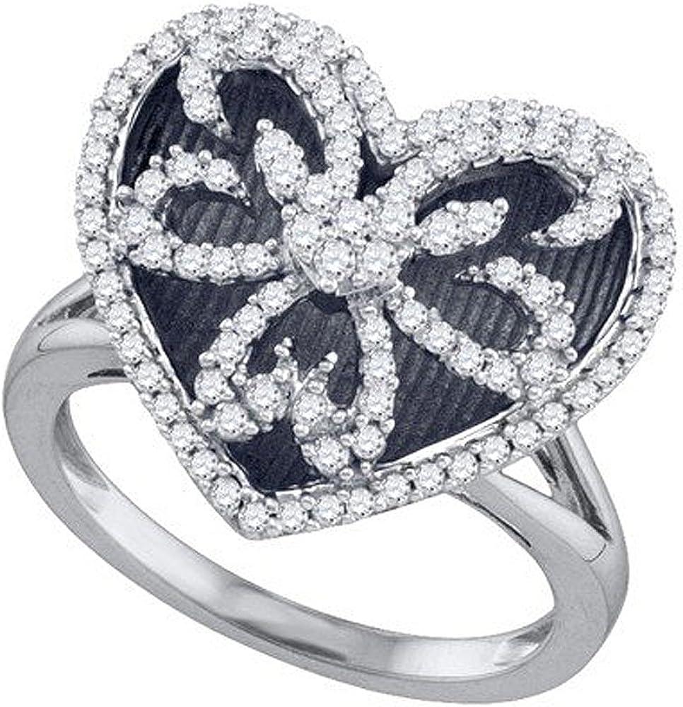 Dazzlingrock Collection 0.57 Carat (ctw) 10K Round Cut White Diamond Ladies Heart Bridal Promise Ring 1/2 CT, White Gold