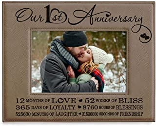 Kate Posh Our First (1st) Anniversary Engraved Leather Picture Frame - Gifts for Couple, Gifts for Him, Gift for Her, Paper, Photo Frame, First Wedding (4x6-Horizontal)