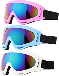 Ski Goggles, Pack of 3 Snowboard Goggles for Kids,Boys,Girls,Youth, Mens,Womens,with UV Protection,Windproof,Anti Glare