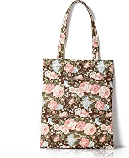 Retro Countryside Floral Flowers Waterproof Large Canvas Tote Bag Women's Top-Handle Bags Geocery Shopping Bags