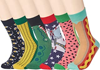 Men's Dress Socks Funky Colorful Animal Printed Novelty Cotton Crew Socks Cool Fashion Funny 6 Pairs