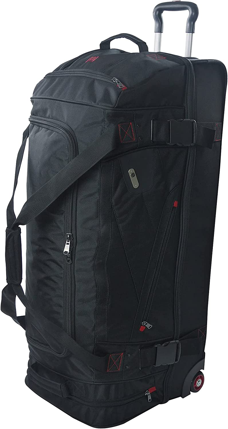FUL Rolling Duffel Travel Luggage Bag with Wheels, 36 Inches, Bl