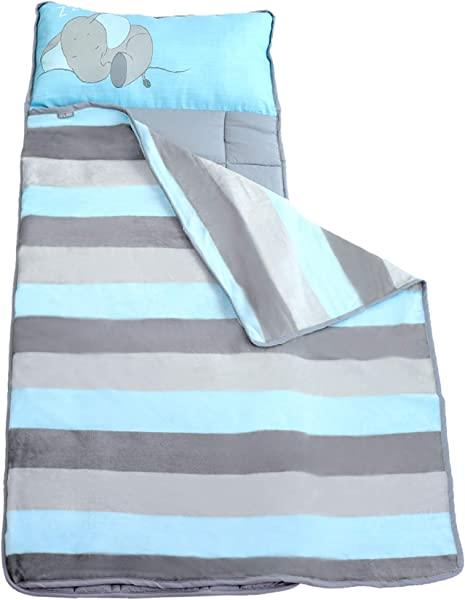 Toddler Nap Mats For Preschool Kinder Daycare Blanket Pillow For Boys Or Girls Foldable Comfy Cover Baby Elephant