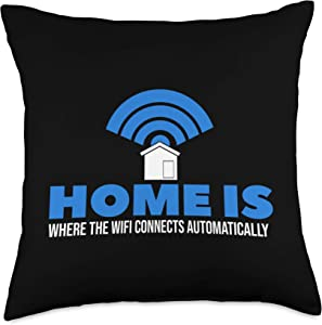 Gamer Gifts & Gaming Accessories Home is Where The WiFi Connects I Nerd Geek I Funny Gaming Throw Pillow, 18x18, Multicolor