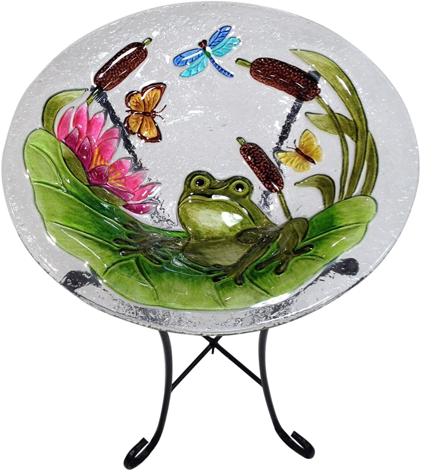 Continental Art Center CAC2221491 Bird Bath Glass Bowl, 13 by 2Inch, Frog