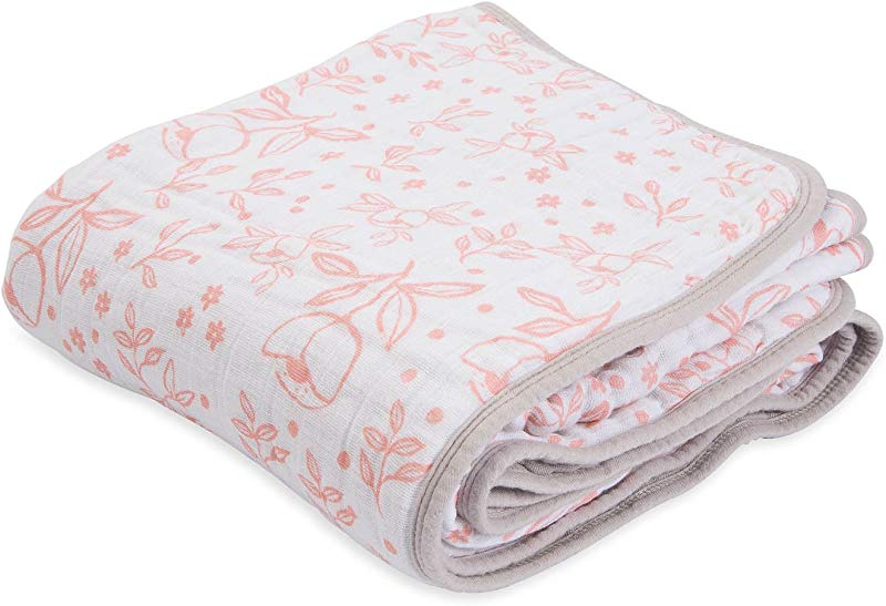 Little Unicorn Cotton Muslin Blanket Quilt Garden Rose