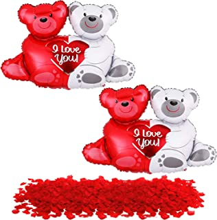 Teddy Bear Balloons Set Pack of 2 - 1000 Red Rose Petals | Red Heart Rose Petals for Romantic Decorations Special Night | ...
