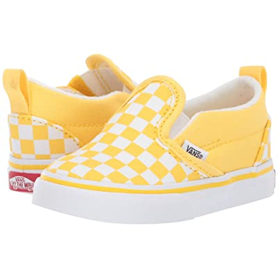 Vans Kids Slip-On V (Toddler) ((Checkerboard) Aspen Gold/True White) Girls Shoes