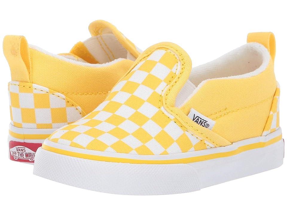 Vans Kids Slip-On V (Toddler) ((Checkerboard) Aspen Gold/True White) Girls Shoes