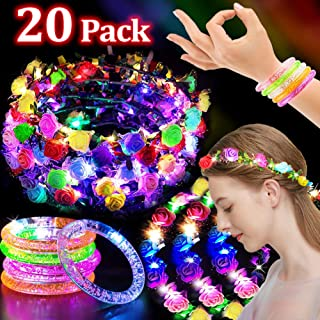 20 Pack Glow Party Favors for Kids Halloween Glow in the Dark Party Supplies 10 LED Flower Headbands 10 Glow Sticks Bracelet Light Up Jewelry Glow Party Decorations Accessories for Party Dress Up