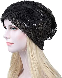 Ganenn Women Lace Flower Slouchy Baggy Chemo Beanie Hat Turban Head Cap for Cancer (Red) (Black)