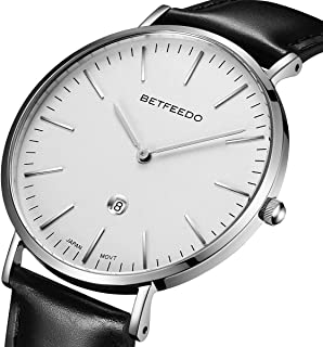 BETFEEDO Men's Ultra-Thin Quartz Analog Date Wrist Watch with Black Leather Strap