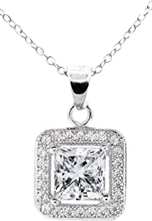 Jade Marie Enchanting Silver Halo Princess Cut Cubic Zirconia Pendant Necklace, 18k White Gold Square Halo with CZ Crystals, Hypoallergenic Sparkling Pendant Necklaces for Women, Bridesmaid Jewelry