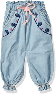 Giggles Front Stitching Drawstring Elastic Waist Pants For Girls