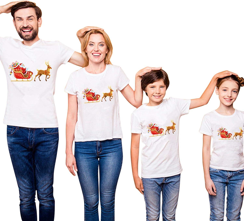 wenyujh T-Shirts Famille No/ël Manche Courte Imprim/é /À Col Rond Chemisier D/écontract/é Hauts Top Tee-shirt pour F/ête Christmas