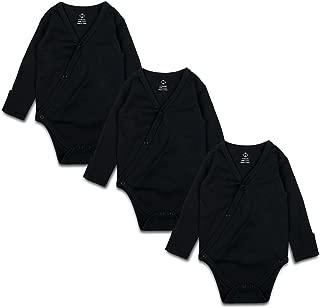 OPAWO Baby Black Side Snap Bodysuit with Mitten Cuffs, Unisex Boy Girl Kimono Bodysuits 3 Pack