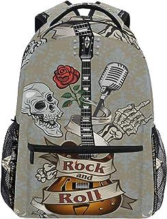 Mochila escolar para niñas, diseño de calavera, guitarra, música, rosa, cachemira, duradera, informal, bolsa de escuela para estudiantes de secundaria