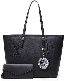 Bolsos Mujer Bolso Bandolera Bolsos de Moda Bolsos Totes Bolso Grande Bolso De Hombro Bolsas de 2 Piezas (Negro)