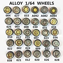 EGFHEAL 1/64 Scale Alloy Wheels Rim and Rubber Tires for Custom Matchbox RC Car Style Random