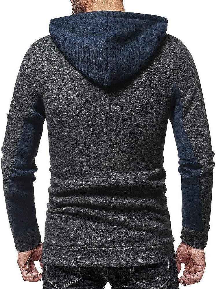 Misaky Hoodies for Men Autumn Winter Patchwork Long Sleeve Pullover Hoodie Sweatshirt Tops Blouse