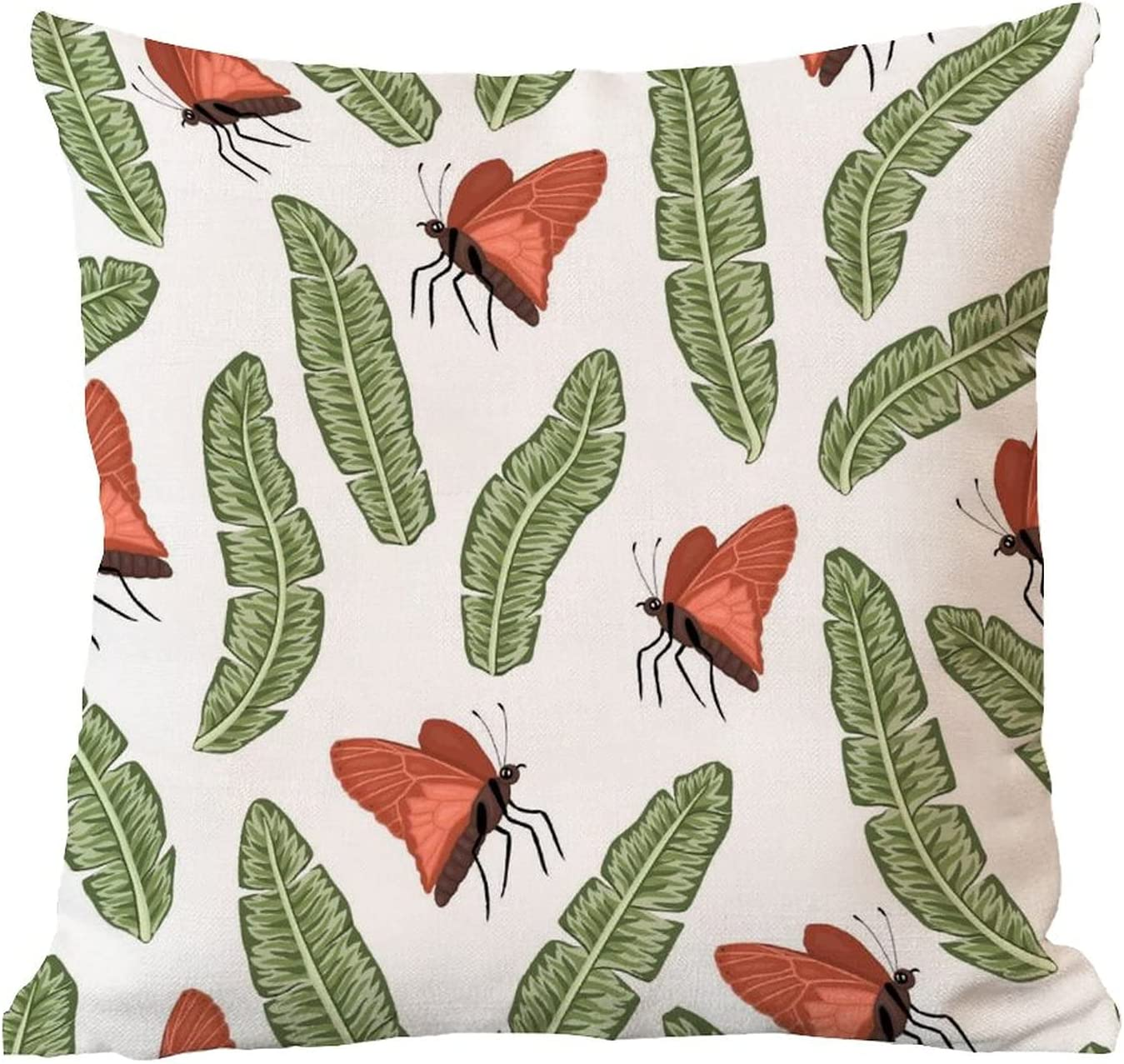 ArogGeld Waterproof Cushion latest Cover Green Red and Leaves Brand Cheap Sale Venue Butterfly