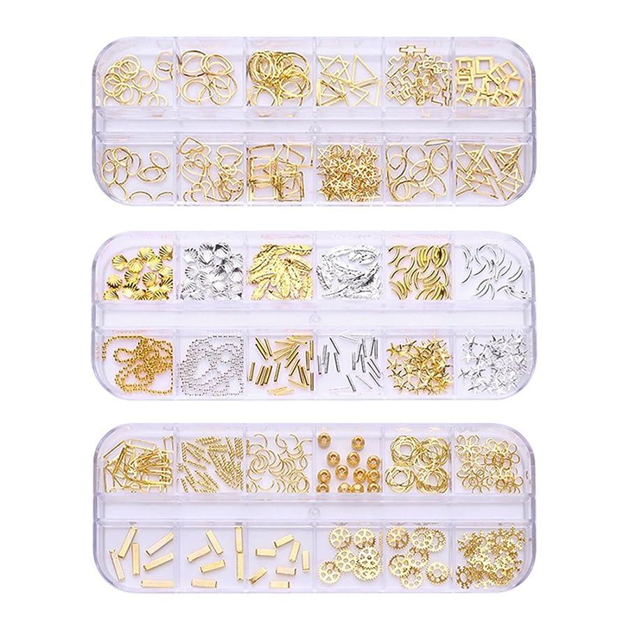 逃す時計逃すBORN PRETTY ネイルデコパーツ3ボックスセット ネイル フレームパーツ 12個口ケース入り 形いろいろミックス ヘアアクセ デコパーツ ミックス 手芸 ハンドメイド アクセサリー製作