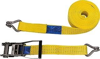 Petex 43192919 Ratschenspanngurt 2 teilig, 10 m, 50 mm, 2500/5000 daN, Doppelspitzhaken, Ratsche 23 cm, gelb