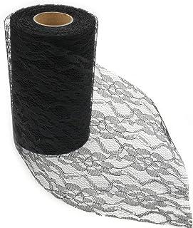 HEALLILY Rouleau de tulle vintage noir de 15 cm de large pour chemin de table en dentelle, décoration de chaise, fête de m...