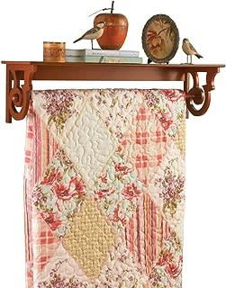 Wooden Quilt Rack With Shelf Walnut