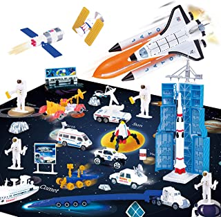 REMOKING Space Adventure Toy Playset, Educational AerospaceToy Series with Space Playmat, Learning Die-Cast Space Shuttl...