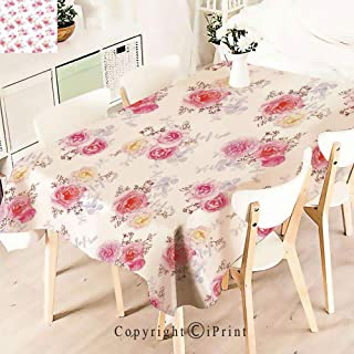 Party Decorations Polyester Tablecloth,Pastel Roses Babies Breath and Leaves,Waterproof Stain Resistant Table Topper,W55 xL71,White Pink
