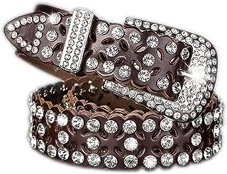 Rhinestone Jeweled Studded Western Cowgirl Cow skin Belt by AMI VEIL